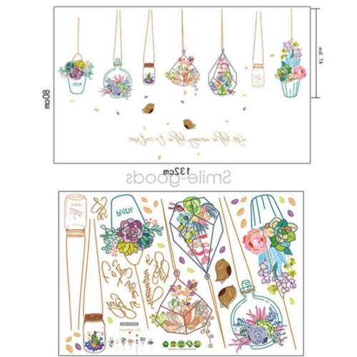 Flowers Plant Wall Stickers Removable DIY Decoration Decals