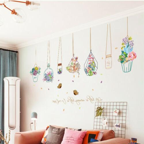 Flowers Potted Plant Stickers Removable Home DIY Decals