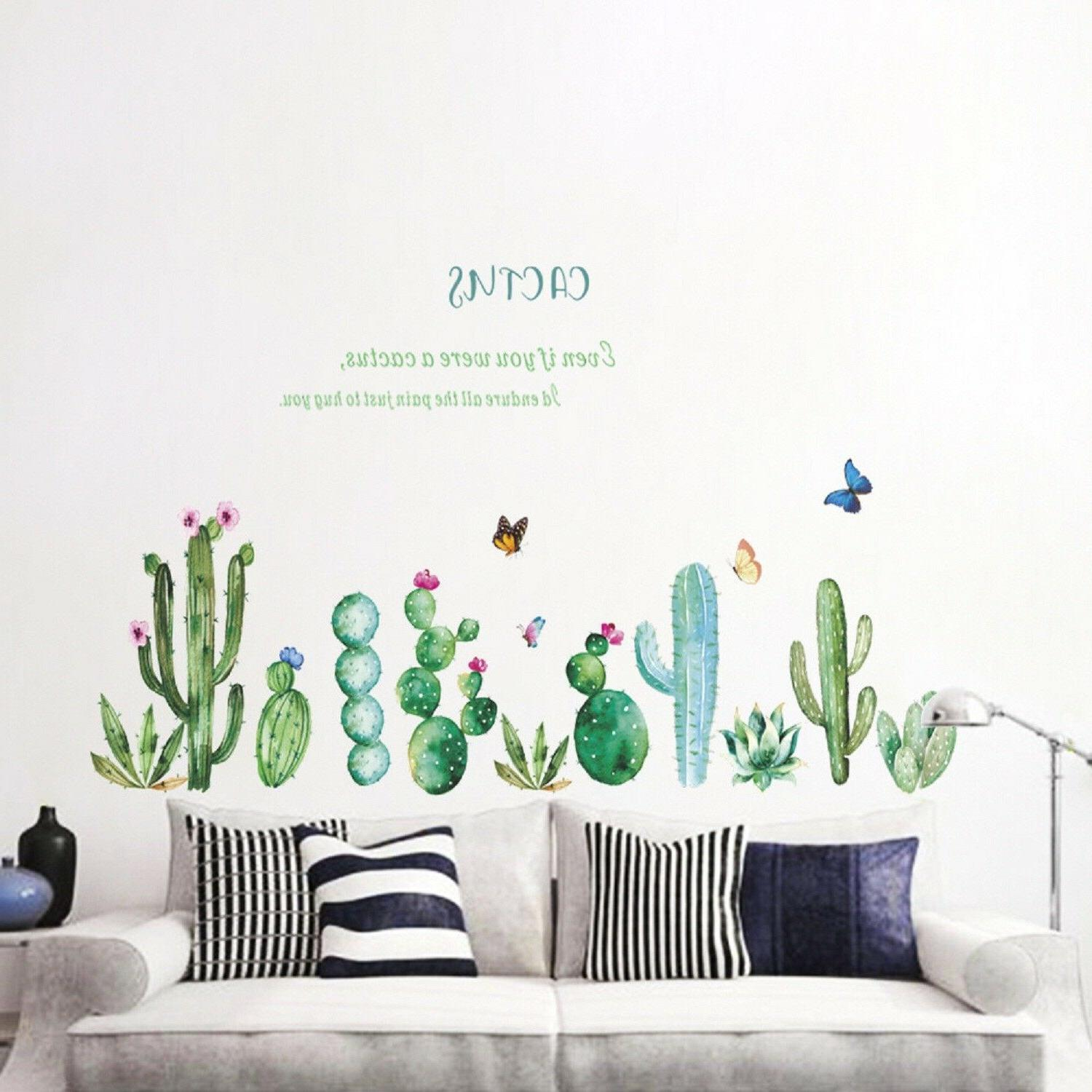 fresh cactus wall stickers green plant decal