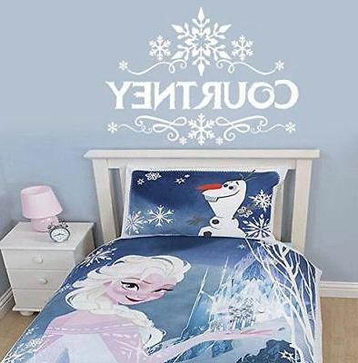 frozen inspired custom name snowflake wall decal