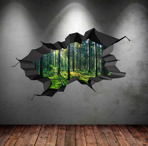 Full Colour Wall Decals Woods Forest Trees Jungle Cracked 3d