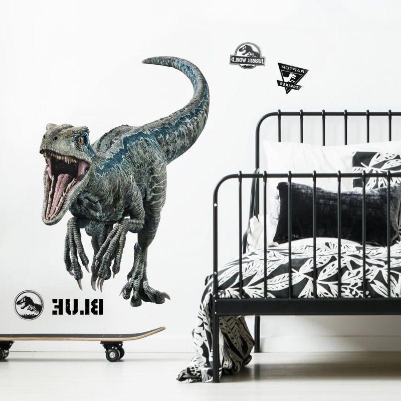 giant blue velociraptor jurassic world wall decals