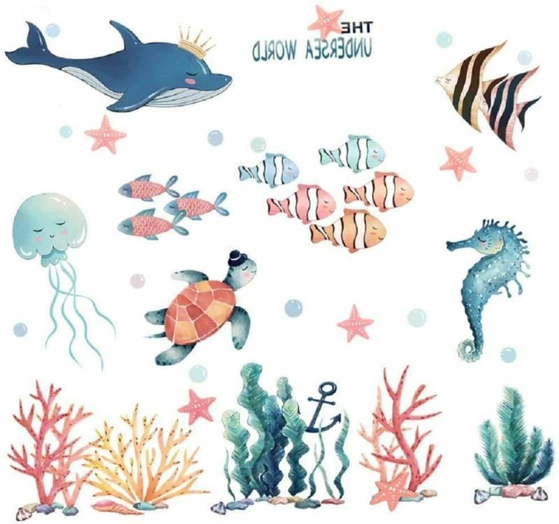 Amaonm Giant Removable 3D Diy Under The Sea World Wall Decal
