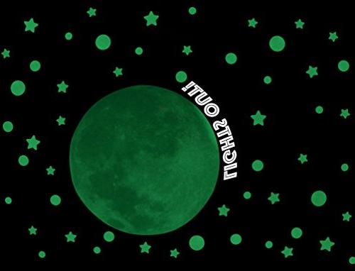 Glow in the Stars w/ Bonus 20cm Full Moon Wall -2018 230 Moon, Long and Gift, and Wall Sticker
