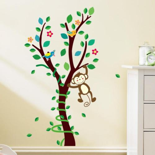 green leaves tree hanging monkey wall decal