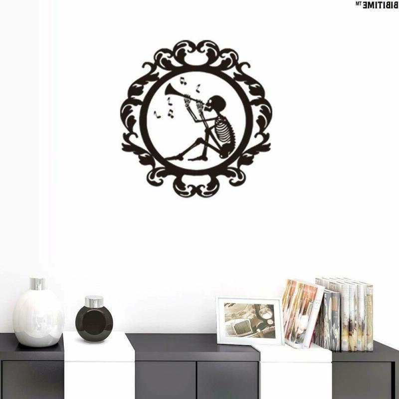 halloween wall stickers skull playing trumpet music