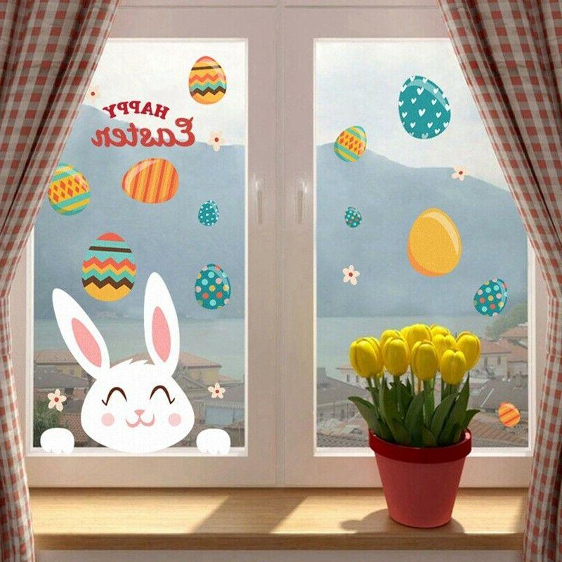 happy easter eggs bunny vinyl window wall
