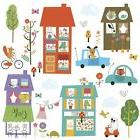 HAPPY TOWN WALL DECALS City Houses Animals Cars Room Decor S