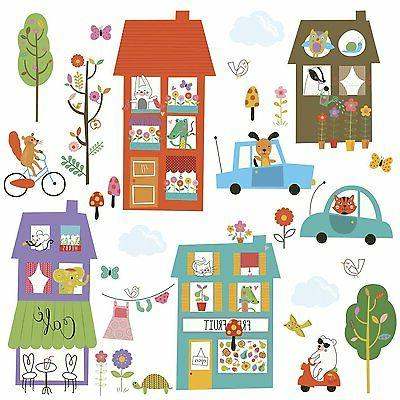 HAPPY TOWN WALL DECALS Houses Animals Cars Stickers Baby Nur
