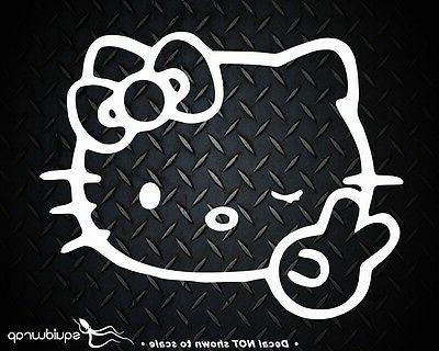 Hello Kitty Peace Sign Winking Bow Car Wall Vinyl Window Dec