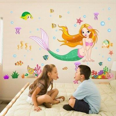 Wall Stickers Mermaid Removable Kids Baby Room
