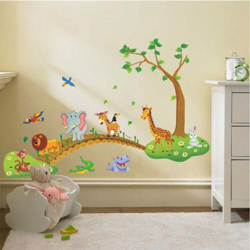Jungle Animal Removable Wall Kids Nursery Baby US