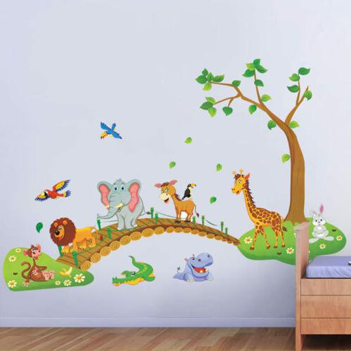jungle animal tree removable wall decals sticker