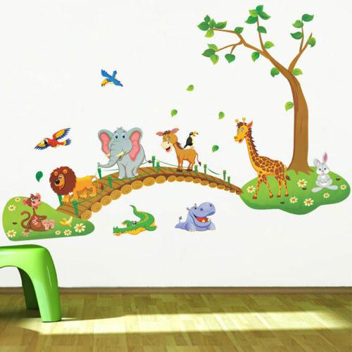 Jungle Animal Tree Wall Kids Nursery Room Decor US