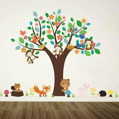 jungle animal wall decal flower branch tree