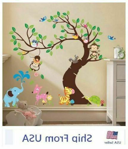 Owl Tree Jungle Animals Removable Wall Stickers  Monkey Deca