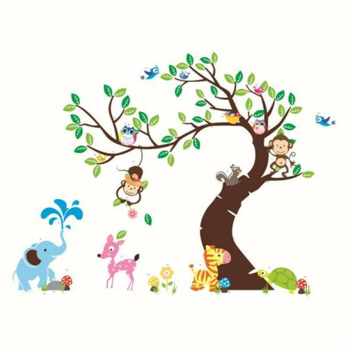 Owl Tree Removable Wall Stickers Jungle Animals Monkey  Bedr