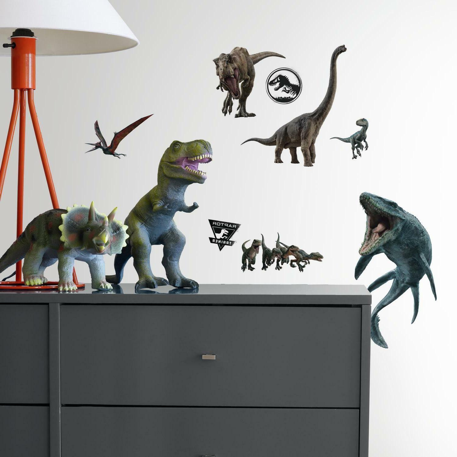JURASSIC WORLD BiG Wall Decals BLUE T-Rex Room Decor Sticker
