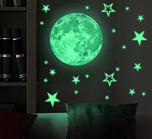 kids removable moon stars glow