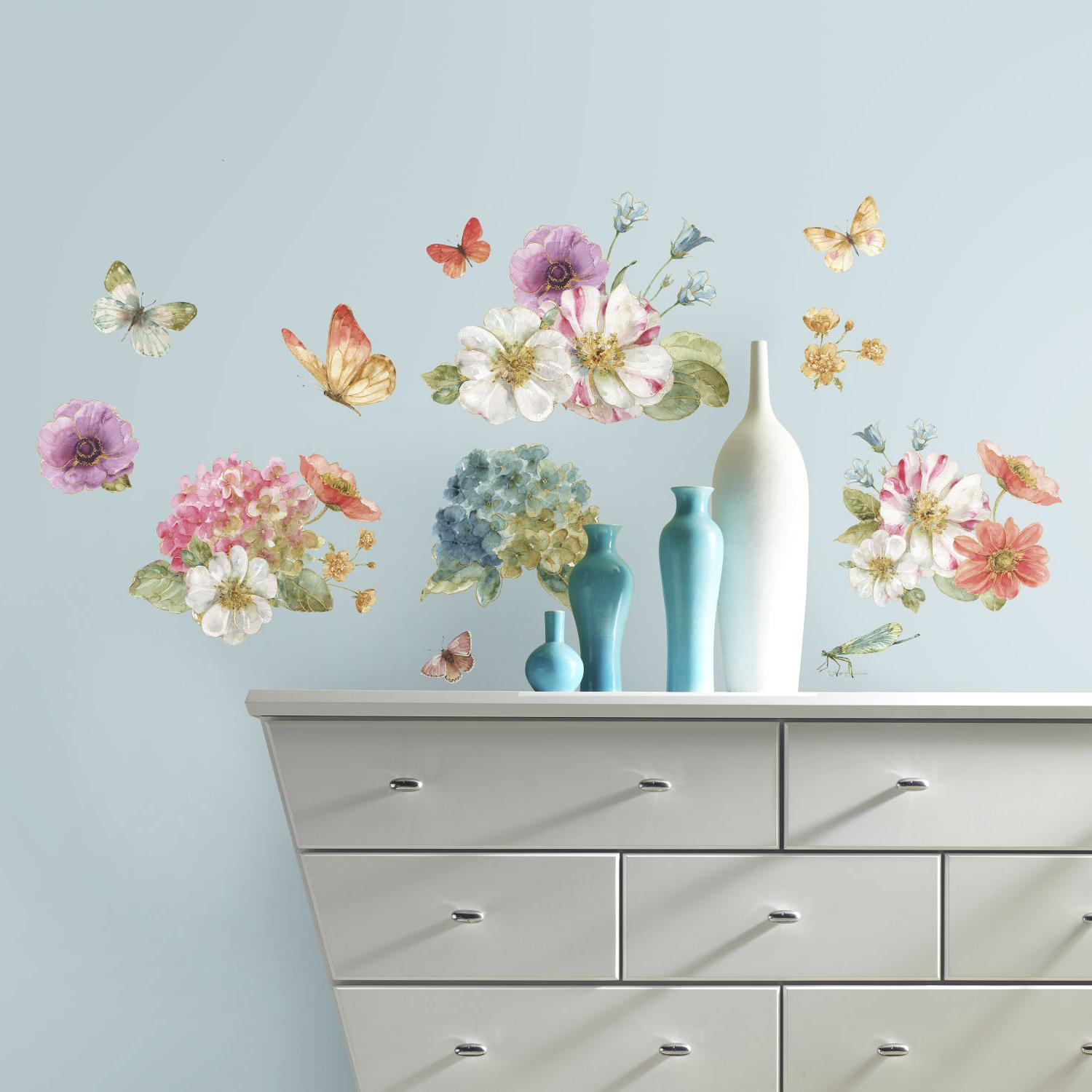 Lisa Audit WATERCOLOR WALL DECALS Floral Stickers
