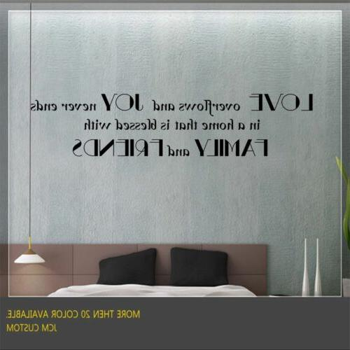 Love Overflows and Joy Never Ends in a Home - Wall Decal Ins