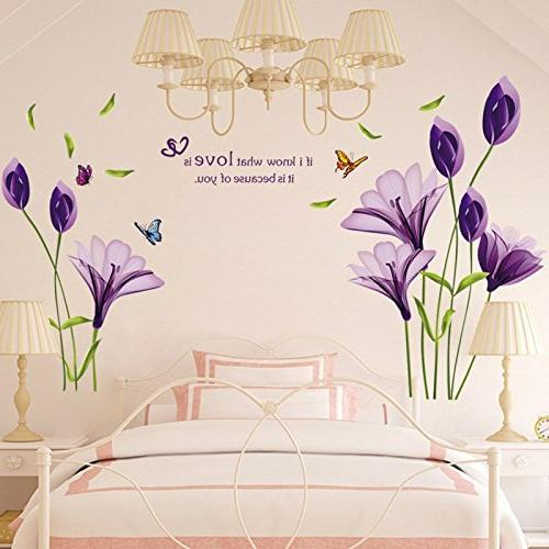 LiveGallery Beautiful Lily Flowers Decals DIY art Wall Murals for Living TV rooms Bedroom Decoration