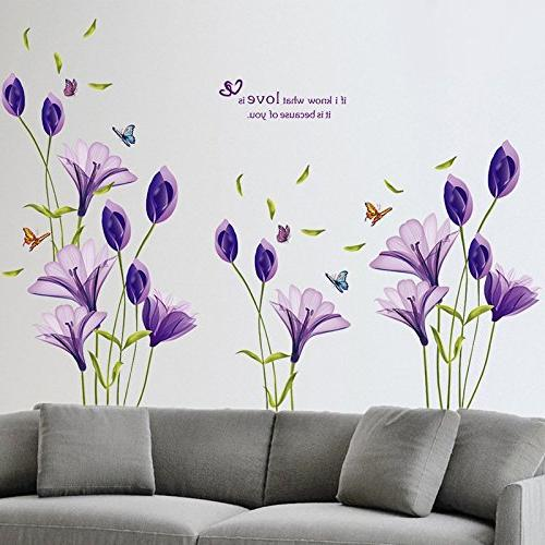 LiveGallery Beautiful Lovely Flowers Wall DIY Butterfly Flower art Decor Murals Living TV Kids Gilrs rooms Bedroom