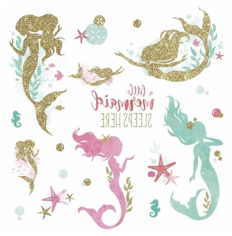 mermaid big wall decals gold glitter pink