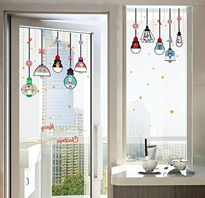 merry christmas vinyl hanging lamp wall stickers
