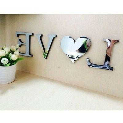 mirror wall sticker love home letters wall