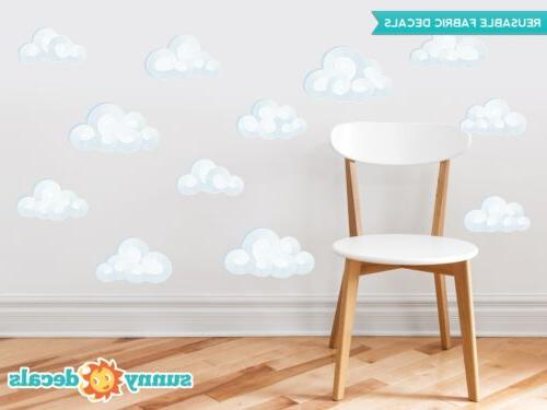 modern clouds fabric wall decals set of
