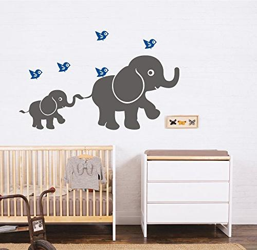 mother baby elephant wall decal