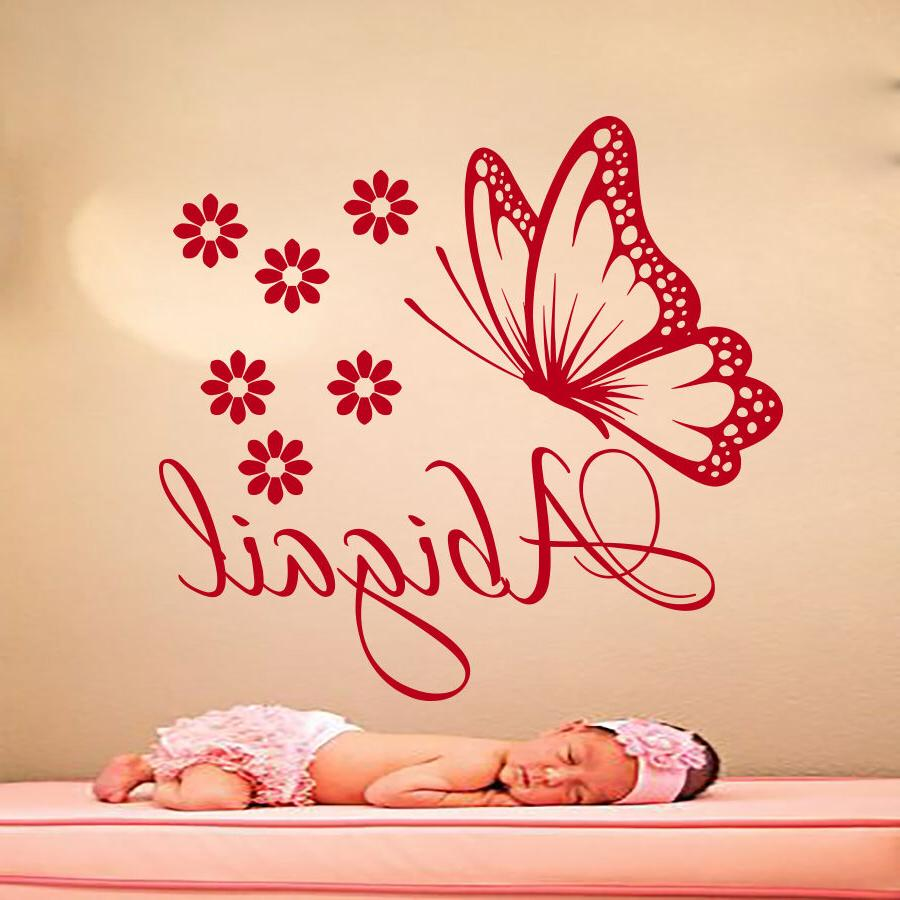 Name Wall Decals Butterfly Decal Vinyl Flower Sticker For Gi
