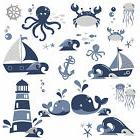 NAUTICAL SEA FRIENDS Wall Stickers Sailboats Whales Room Dec