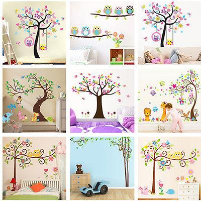 nursery removable owls tree wall stickers