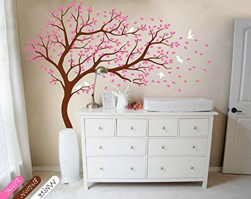 nursery tree wall sticker brown