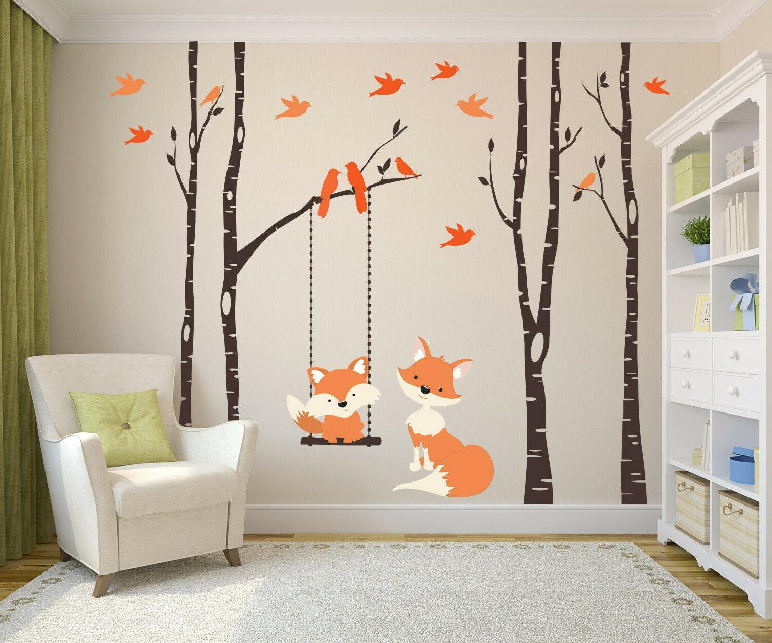 nursery wall decals baby and mom orange
