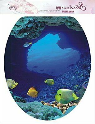 BooDecal Ocean Series Undersea Wall Decals Fish Toilet Cover