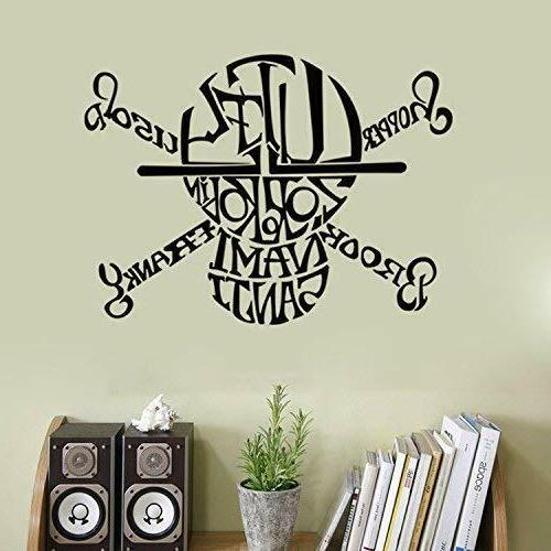 one piece pirates skull wall decals black