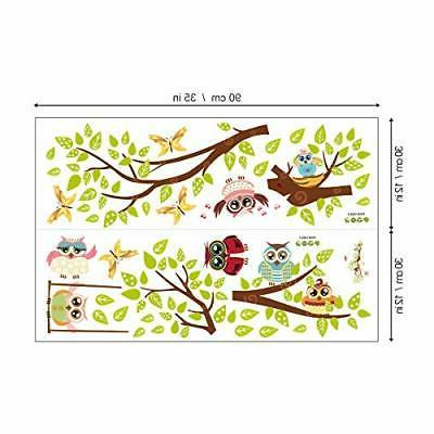 ufengke Owl Tree Wall Butterfly Wall Decals Decor for
