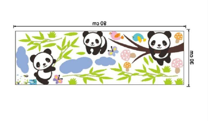 Panda Family Wall Decor Decal Kids Bedroom Stickers