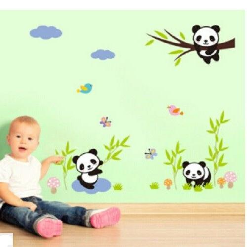 Panda Family Wall Decal Kids Nursery Bedroom Stickers