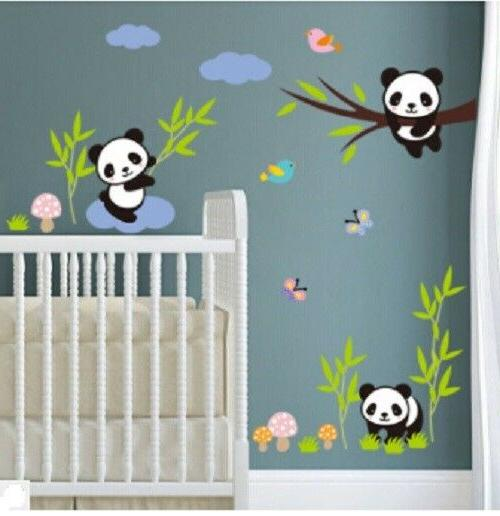 panda family wall decor decal kids baby