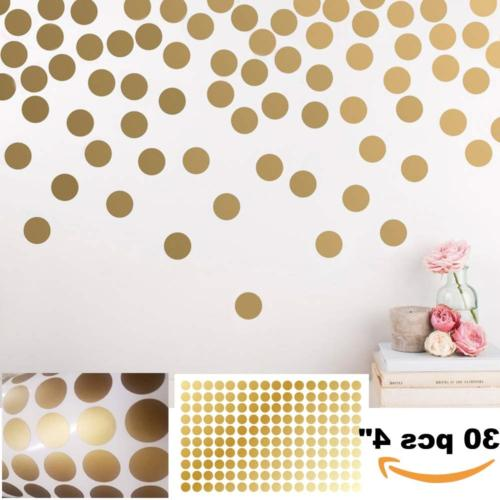 BATTOO Peel and Stick Gold Wall Decal Confetti Polka Dots -