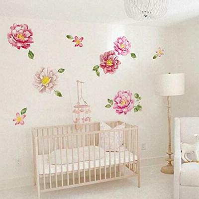 ufengke Peony Stickers Floral Decals Art Girls