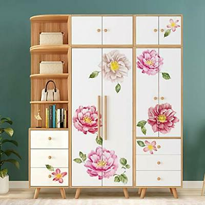 ufengke Peony Flower Wall Stickers Floral DIY Wall Decals Art Girls
