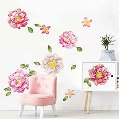 peony flower wall stickers floral diy wall