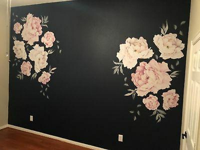 Simple Shapes Peony Wall Sticker Vintage Pink BRAND NEW