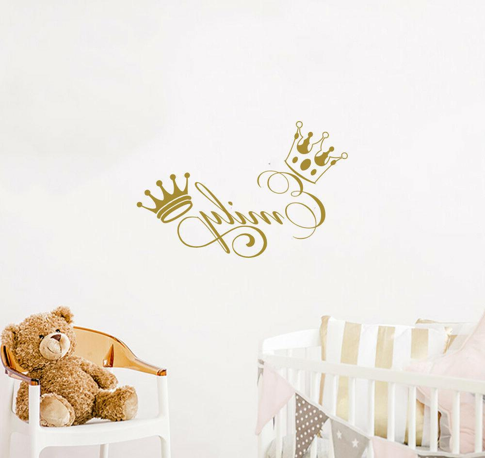 personalized girl name wall decals crown vinyl