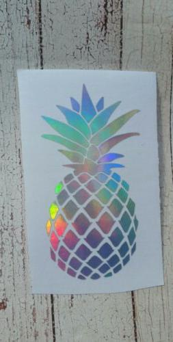 Pineapple car decal Cup Mug decal 3.5 h Holographic Silver o
